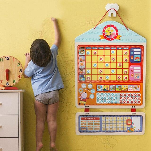 Tableau dactivité de récompense magnétique en bois, calendrier de responsabilités, jouets éducatifs pour enfants, calendrier de responsabilités, jouets