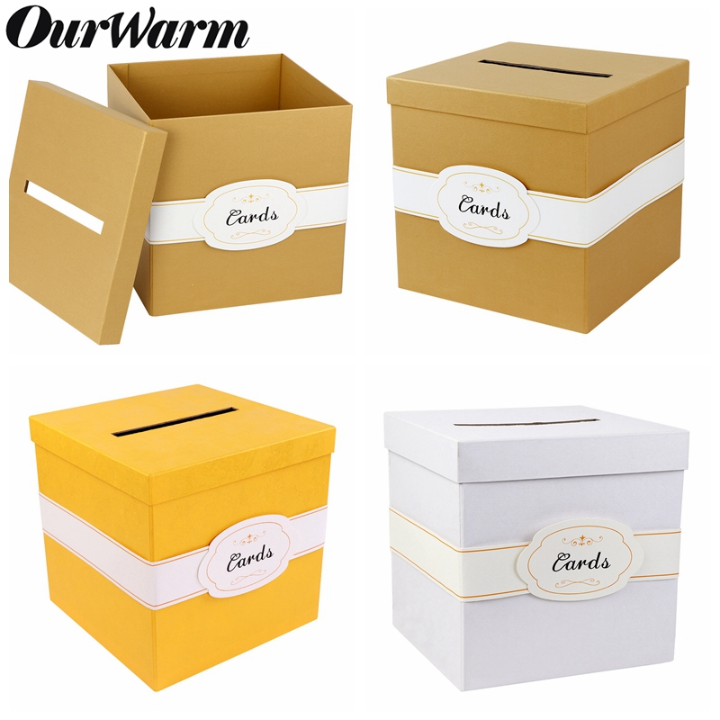 OurWarm Wedding Card Box Festive And Party Supplies DIY Gift Paper Money Box Birthday Baby Shower Decorations 10