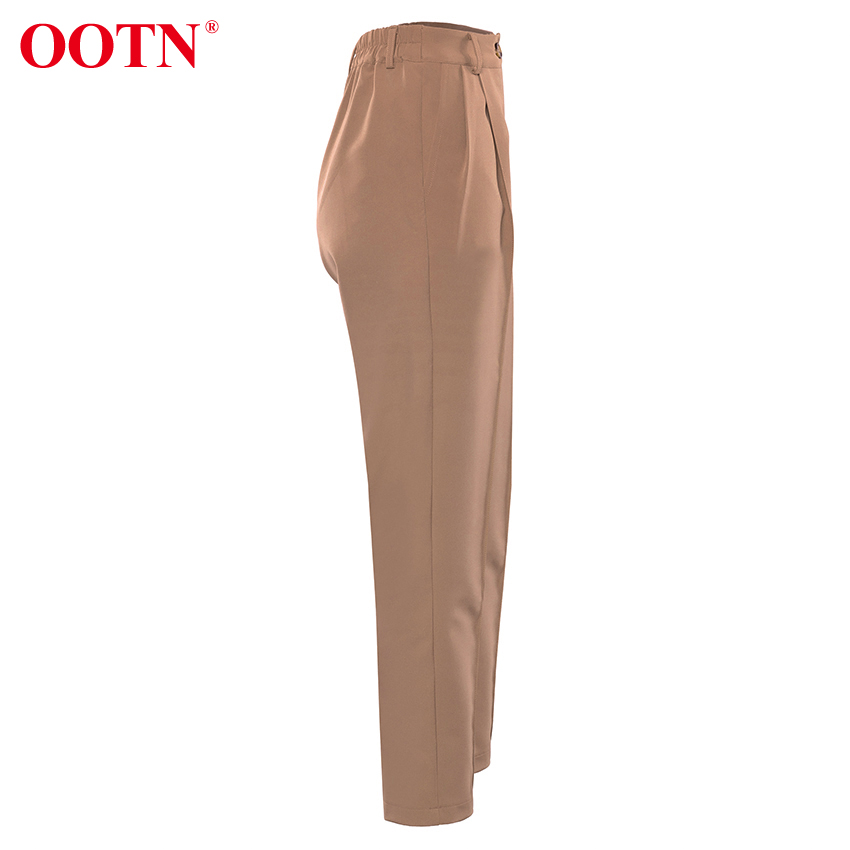 OOTN Casual High Waist Khaki Pants Women Autumn Winter Brown Ladies Office Trousers Zipper Pocket Solid Female Pencil Pants 40