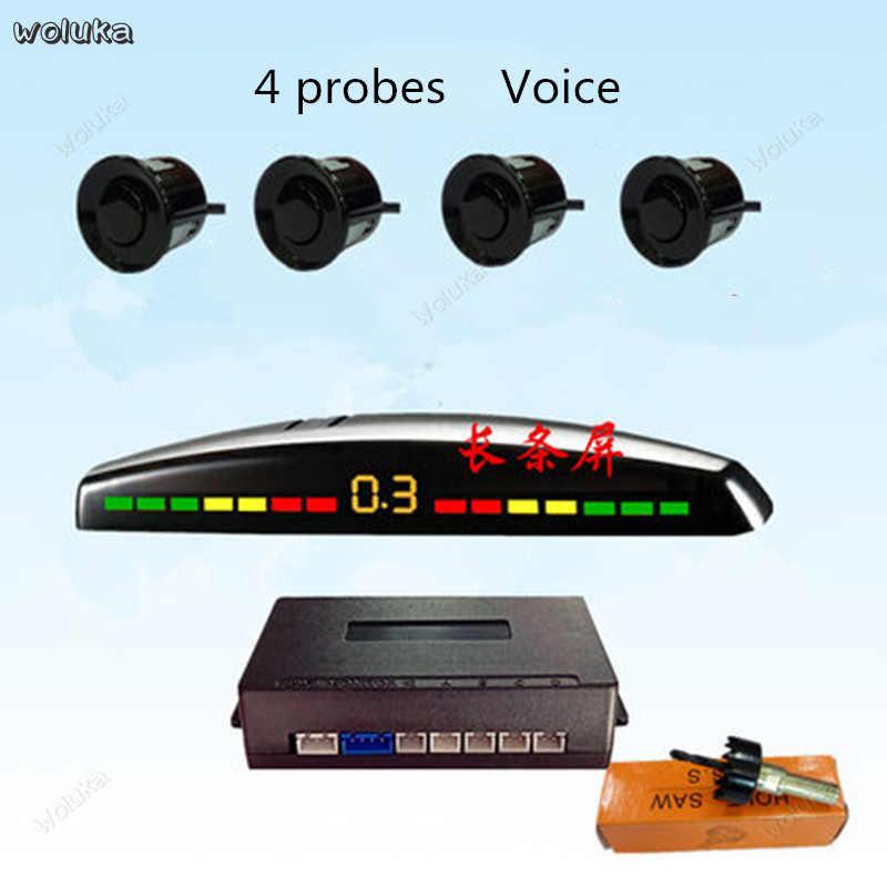 Anti-colisão frente carro radar 4 sonda buzzer voz crescent tela alto-falante frente cd50 q04