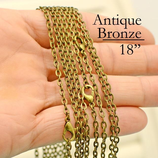 100 pcs  18 Inch Antique Bronze Cable Chain necklace, 18 inch Chain Necklace, Antique Brass Chain Necklace, 45cm Bronze Necklace