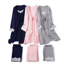 3 unids/set embarazo maternidad pijamas ropa de dormir de enfermería embarazada pijamas camisón de lactancia materna elegante vestido de maternidad de enfermería