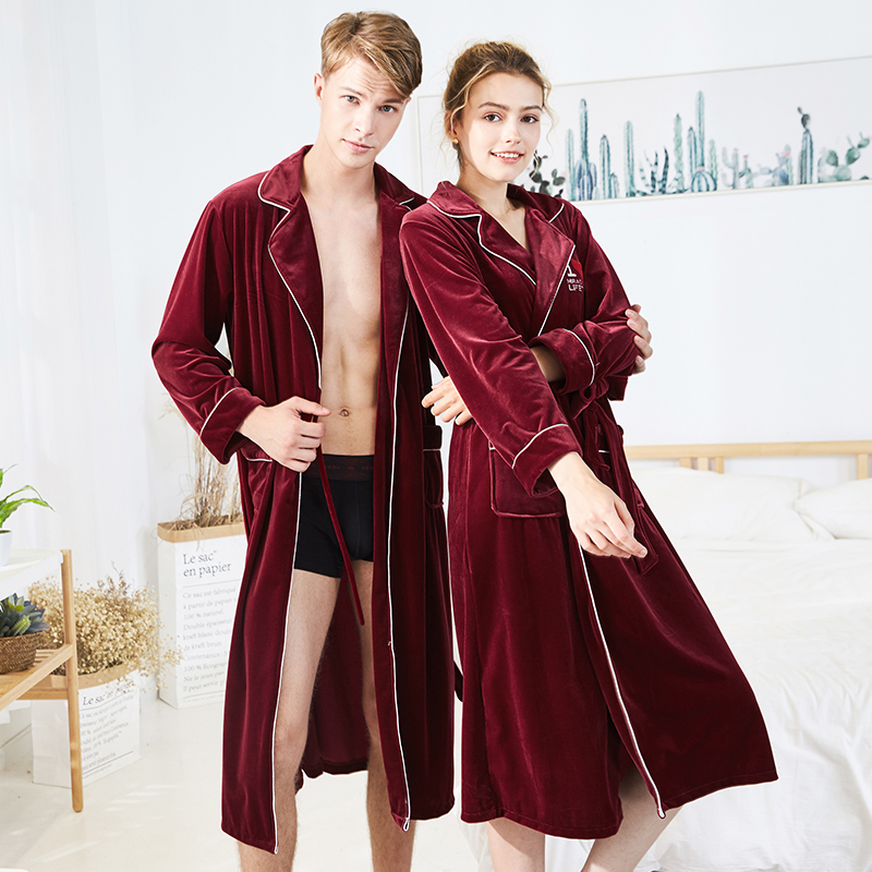 YAOTING  couple nightgown velvet autumn and winter comfortable pajamas for men women sleepwear Skin-friendly