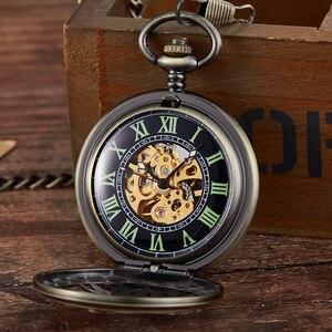 Image 2 - レトロ中空刻ま機械式懐中時計ヴィンテージポケットはブロンズゴールド Fob チェーンネックレスフリップ巻時計