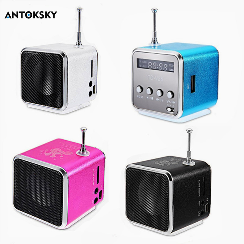 Antoksky Portable TD-V26 Digital FM Radio Speaker Mini FM Radio Receiver With LCD Stereo Loudspeaker Support Micro TF Card