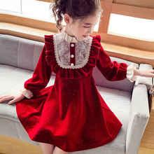 Vestido de princesa de terciopelo para niña, novedad de Otoño de 2020, versión coreana, vestido de encaje rojo para niña, estilo oeste XXZ073