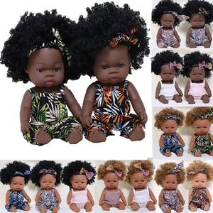 35CM American Reborn Black Baby Doll Bath Play Full Silicone Vinyl Baby Dolls Lifelike Newborn Baby Doll Toy Girl Christmas Gift