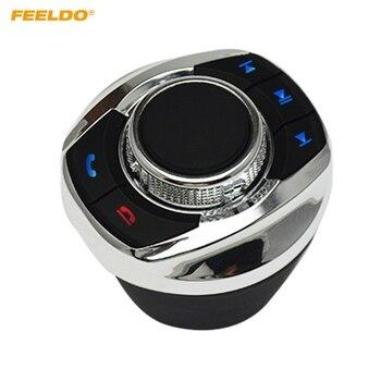 Feeldo nova forma de copo com luz led 8-funções chaves botão de controle do volante do carro sem fio para o jogador de navegação android do carro