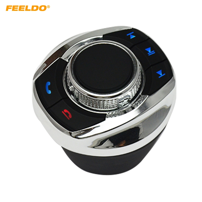 FEELDO New Cup Shape With LED Light 8-Key Functions Car Wireless Steering Wheel Control Button For Car Android Navigation Player