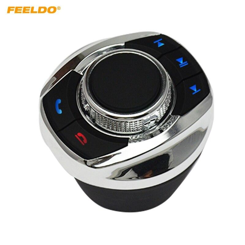 FEELDO nueva taza con luz LED con 8 funciones clave, botón de Control inalámbrico del volante del coche para el reproductor de navegador Android del coche