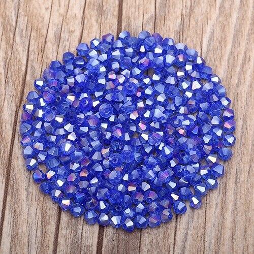 Яркие фиолетовые AB 4 мм 100 шт Австрийские хрустальные биконусные бусины 5301 свободные хрустальные бусы ожерелье браслет ювелирные изделия ручной работы S-61 - Цвет: 18