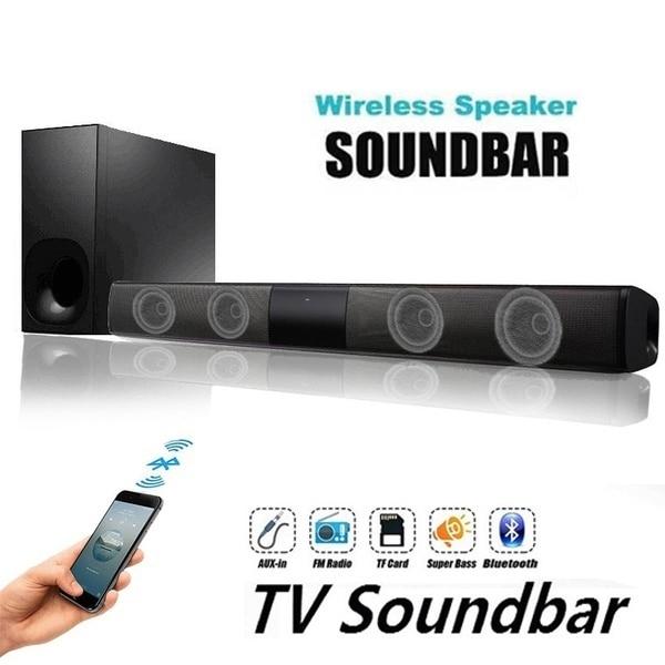 2020 New Luxury Upgrade Best Sound Quality Wireless Bluetooth Soundbar Speaker TV Home Theater Soundbar Subwoofer with RCA Line