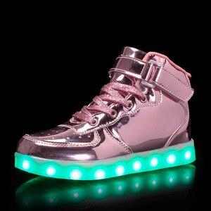 Image 2 - サイズ25 37ファッション子供のled靴グローイング発光唯一十代のスニーカーバスケットライトアップbuty led