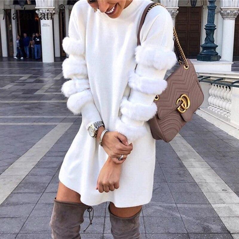 Nadafair Donut Faux Fur Patchwork White Casual Winter Dress Women O Neck Wrap Mini A-Line Hoodie Dress