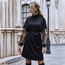 Женское платье черное с высоким воротником Сетчатое в горошек
