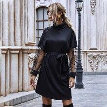 Women's Dress Black Turtleneck Dress Polka Dot Mesh Long Sleeved Dresses for Women 2020 Winter Knitted Dress Vestido De Mujer