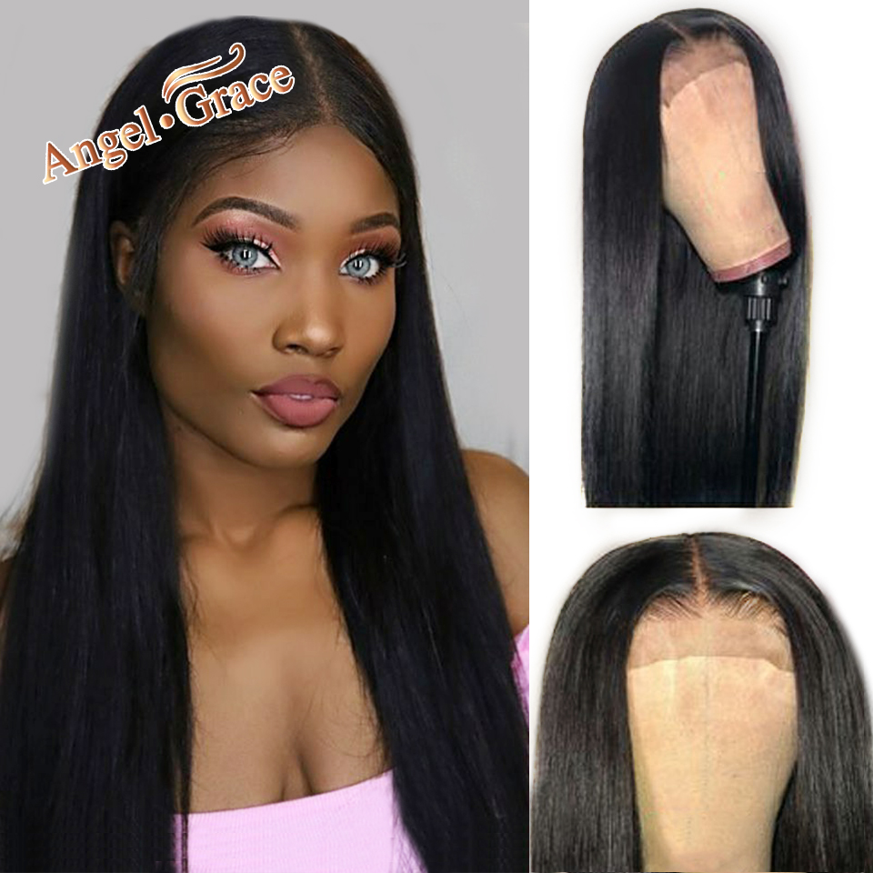 Brazilian Wig 4x4 Straight Lace Closure Wig Human Hair Wigs Pre Plucked With Baby Hair Angel Grace Remy Hair Lace Wig 10-26inch