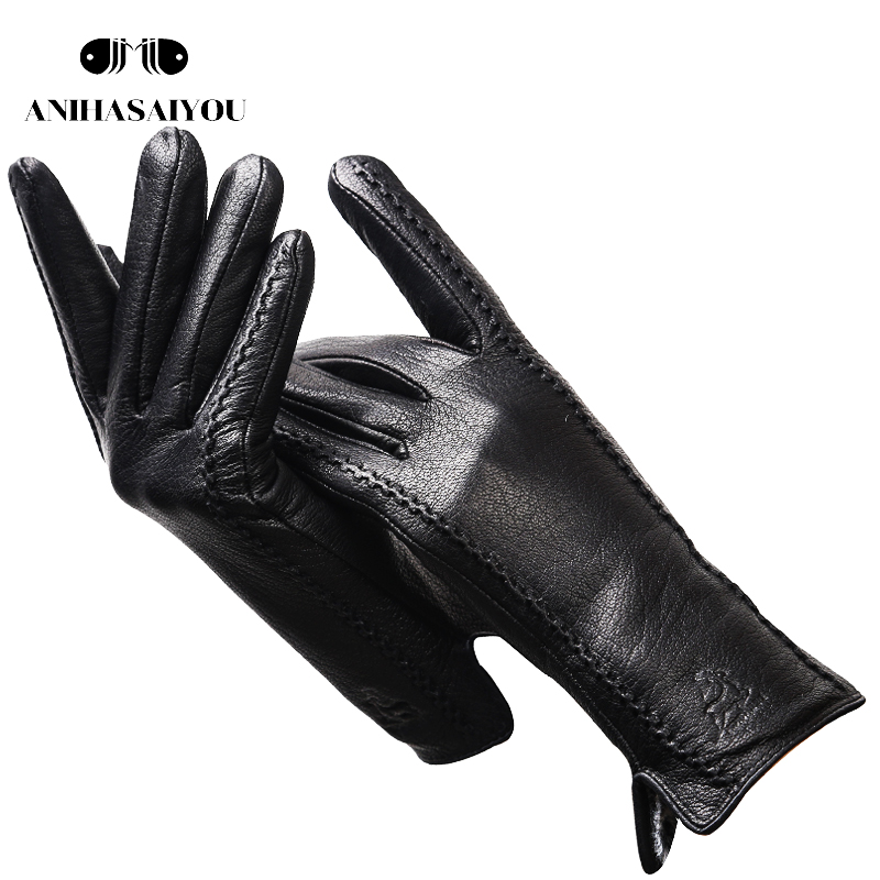 Imitation Deer Skin Texture Women's Genuine Leather Gloves Fashion Real Sheepskin Winter Gloves Women  Withstand The Cold - 2269