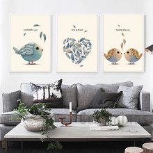 Любовь и мечта птичка для домашнего декора Скандинавская Картина