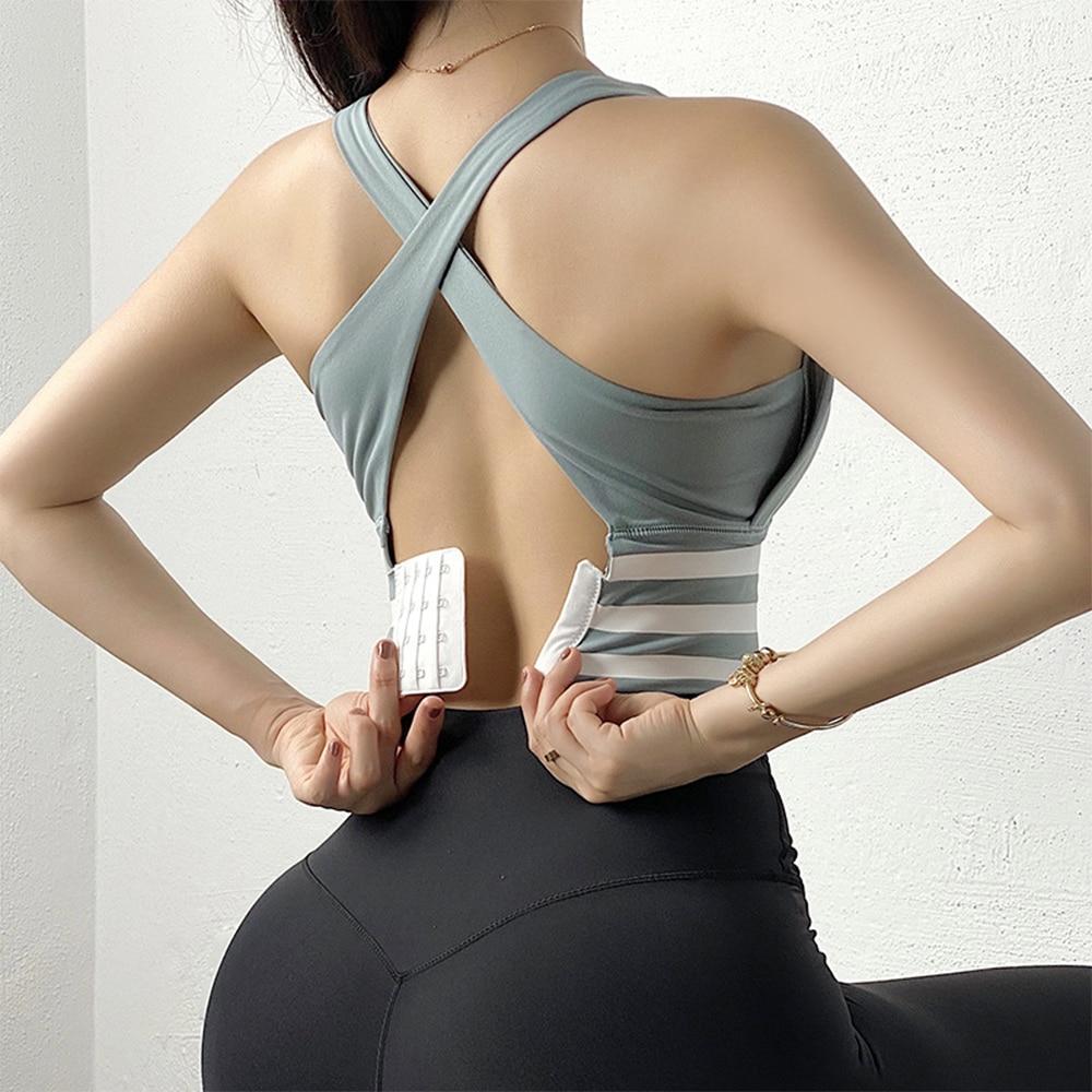 Спортивный бюстгальтер, сексуальный женский укороченный топ для йоги, противоударное нижнее белье с эффектом пуш-ап, бюстгальтеры для фитн...