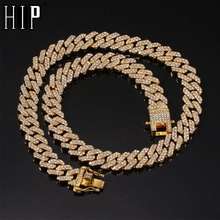Hip Hop 12MM Bling Iced Out Full Rhinestone Necklace Geometric AAA CZ Stone Cuban Chain Necklaces For Men Jewelry