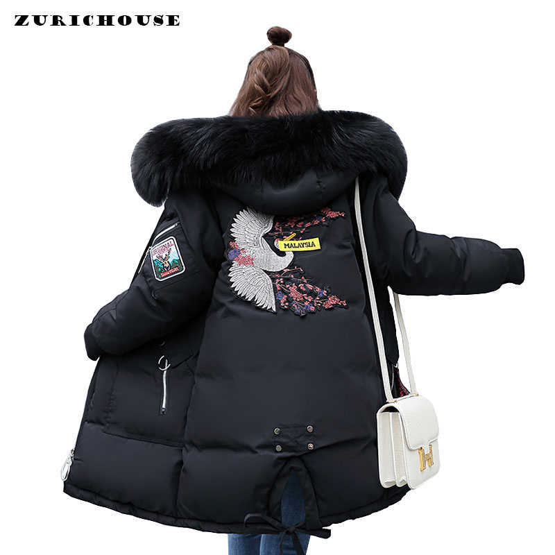 ZURICHOUSE 2019 Winter Jacke Frauen Fell Kapuze Parka Lange Mäntel Stickerei Unten Padded Jacken Winter Mantel Frau