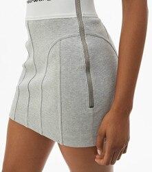 Весна-лето 2020 Женская жаккардовая эластичная лента с буквенным логотипом облегающая трикотажная юбка на молнии с высокой талией A2