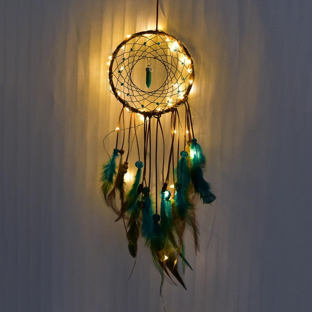 Dream Catcher LED Pendant Lights Wall Hanging Lamp Handmade Feathers Night Light For Home Living Room Lamparas De Techo Colgante
