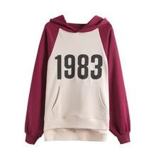 Hoodies Women 2019 Autumn Women's Korean Loose Hooded Patchwork 1983 Letter Sweatshirt Streetwear Top Sudaderas Para Mujer