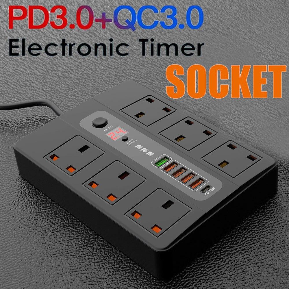 240 V UK 6 Socket Extension Lead 2 M Longue Prise électrique Socket sécurité solide 13 A