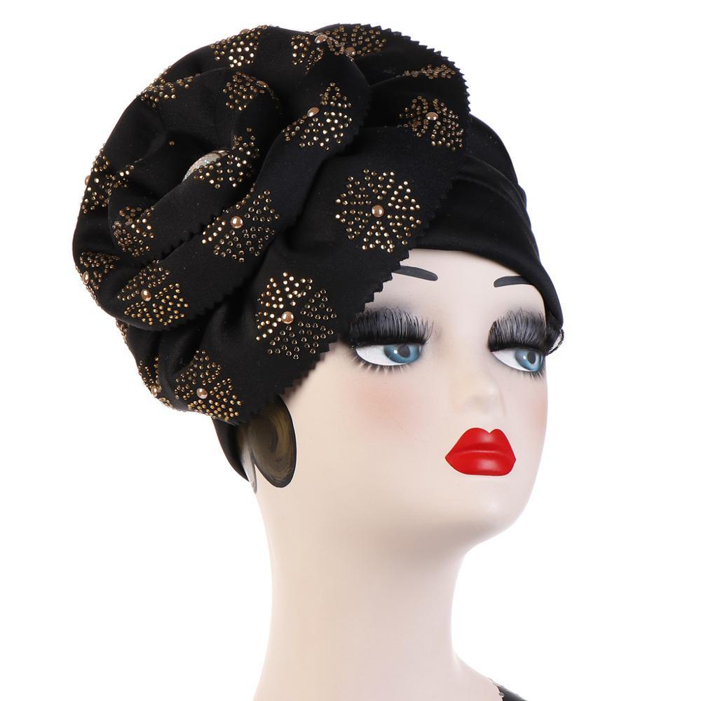 Image 3 - Helisopus Muslim Big Flowers Turban Women Shiny Glitter Oversized  Flower Hijab Bandana Head Cover Beanie Chemo Caps AccessoriesWomens  Hair Accessories