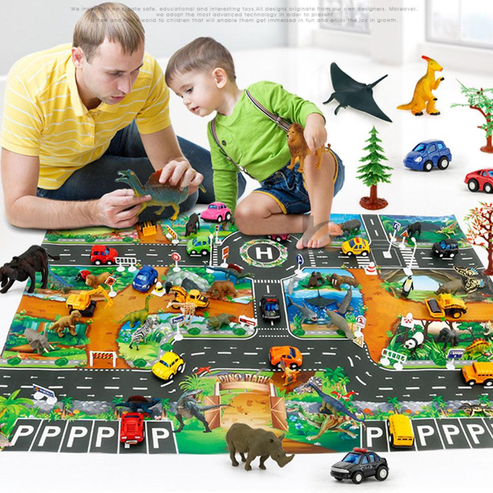 Traffic Route Dinosaur Pattern Kids Play Pad Mat Rug Carpet Room Decor Puzzles Carpets In The Nursery Play Soft Educational Toy