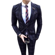 Koreańskiej wersji męski garnitur w paski dwa zestawy nowe ciuchy nocny płaszcz garnitur Slim fit męski apartament ślubny pana młodego tanie tanio COTTON REGULAR CL (pochodzenie) Jednego przycisku Pełna Smart Casual