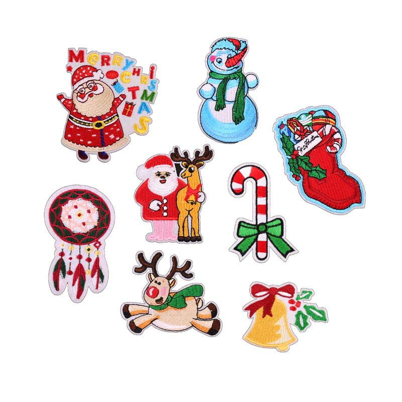 Embroidery Patch Cloth Stickers Computer Embroidery Chapter Cartoon Santa Claus Bells Clothes Decoration Patch Stickers Tree