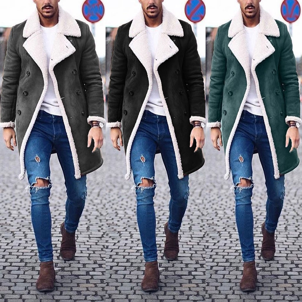 Mens Jackets Coats Wool Warm Winter Trench Long Outwear Button Smart Coat New Fashion Warm Man Jacket Velvet And Gloves Scarves