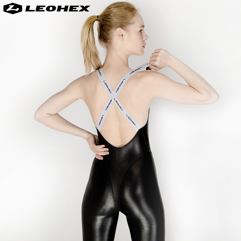 Workout Infinity-Jumpsuit Sports-Pants Fitness Wet-Look Yoga LEOHEX Women Gym Backless