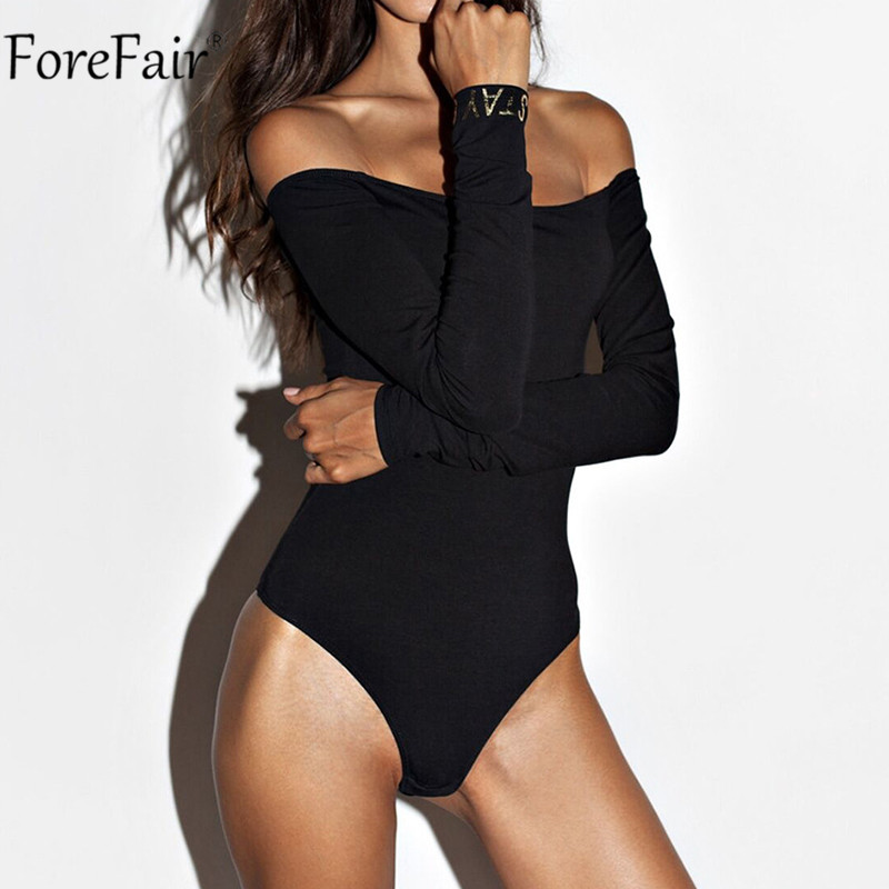 Forefair Women Sexy Off Shoulder Black Bodysuit White Long Sleeve Backless Body Top Lady Autumn Winter Casual Solid Bodysuits