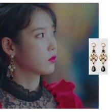 black earring for women DEL LUNA Hotel same IU Fashion personality Eardrop Elegant For Women Earrings pendientes brincos