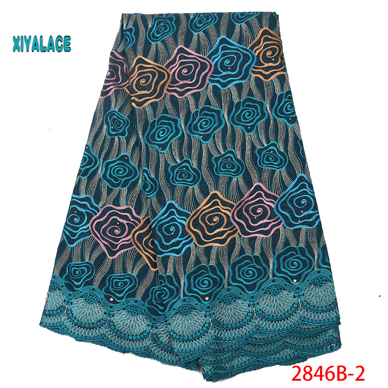 Swiss Voile Lace Fabric African Lace Fabric 2019 High Quality Stones Swiss Voile Lace In Nigerian Fabrics Party Dress YA2846B-2