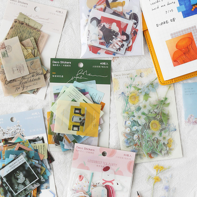 40pcs/pack Happy Holiday Theme Stationery Stickers Kawaii Sticker Diy Scrapbooking Diary Planner Albums Decorations