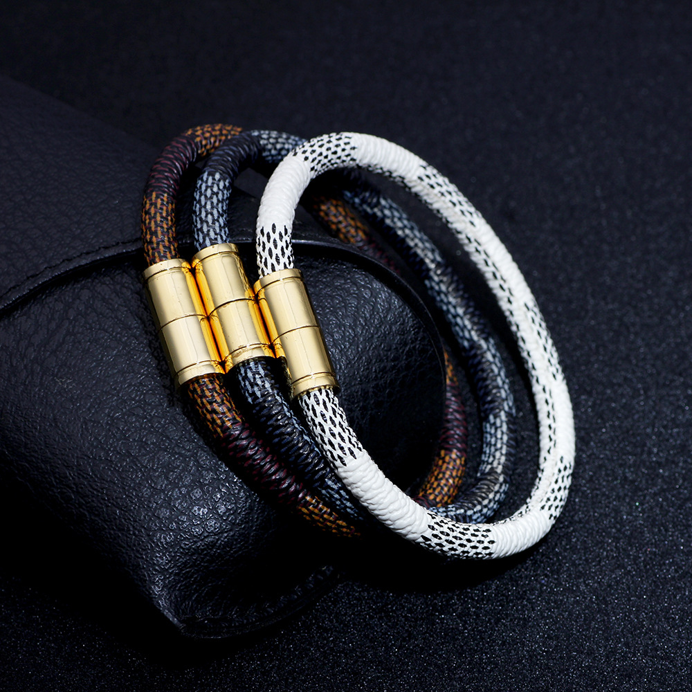 New Fashion Punk Cow Leather Bracelet For Men Women Bangle Magnetic Jewelry Wristband Gift