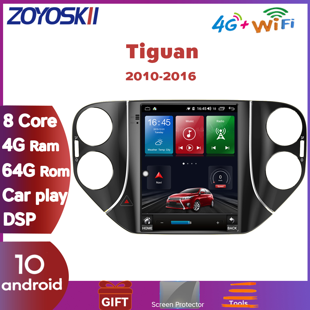 ZOYOSKII Android 10 10.4 inch vertical Tesla style CAR multimedia radio GPS navigation player for Volkswagen Tiguan 2010-2016 image