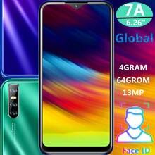 7a global quad core água gota tela smartphones 4g ram 64g rom 13mp 6.26 polegada face id desbloqueado telefones celulares android