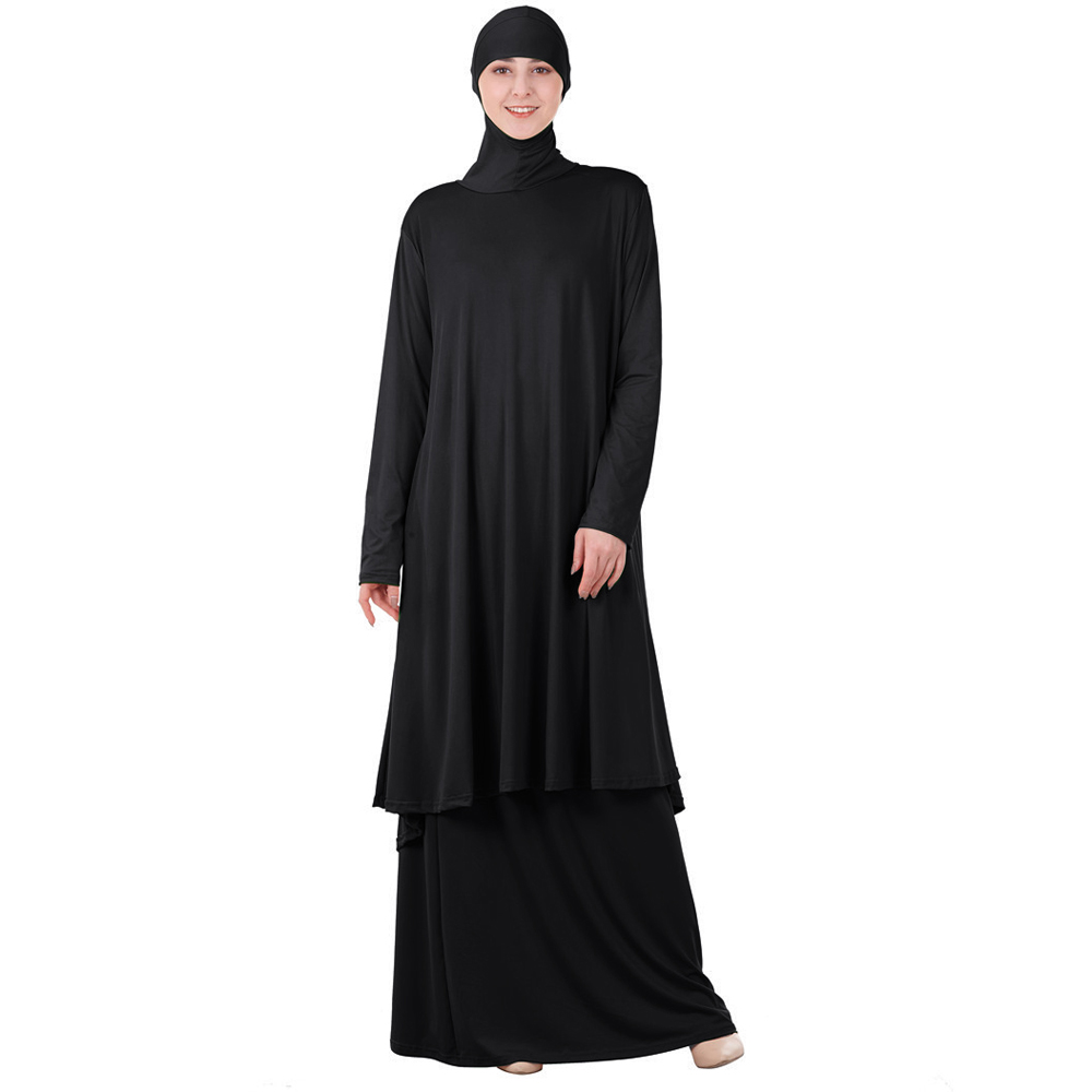 Two Pieces Set Islamic Prayer Abaya Dress Muslim Women Oversized Scarf Maxi Skirts Jilbab Hooded Hijab Kaftan Arab Robe Ramadan