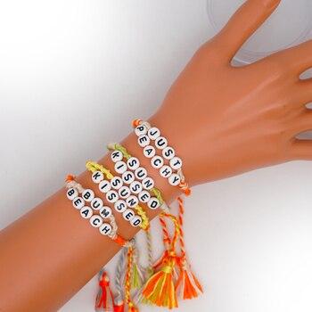 Pulsera GO2BOHO de arcoíris, pulseras para mujer con letras, borla, algodón bohemio, étnico hecho a mano, ajustable, cuerda colorida, joyería de macramé