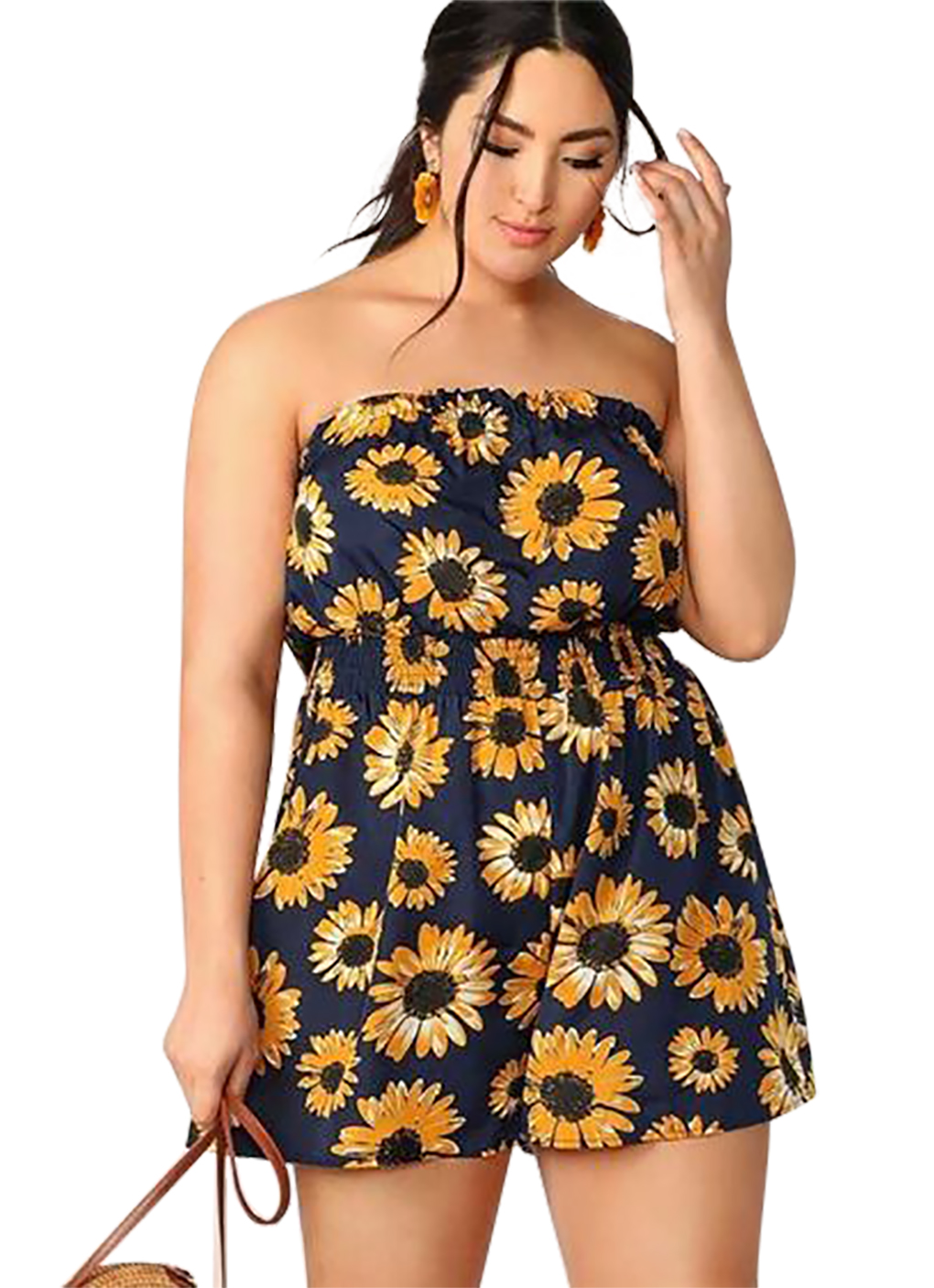 Women's Sunflower Graphic Romper Summer Jumpsuit Sexy Strapless Sleeveless Jumpsuit Ladies Rompers Beach Bodysuit Ladies Clothes