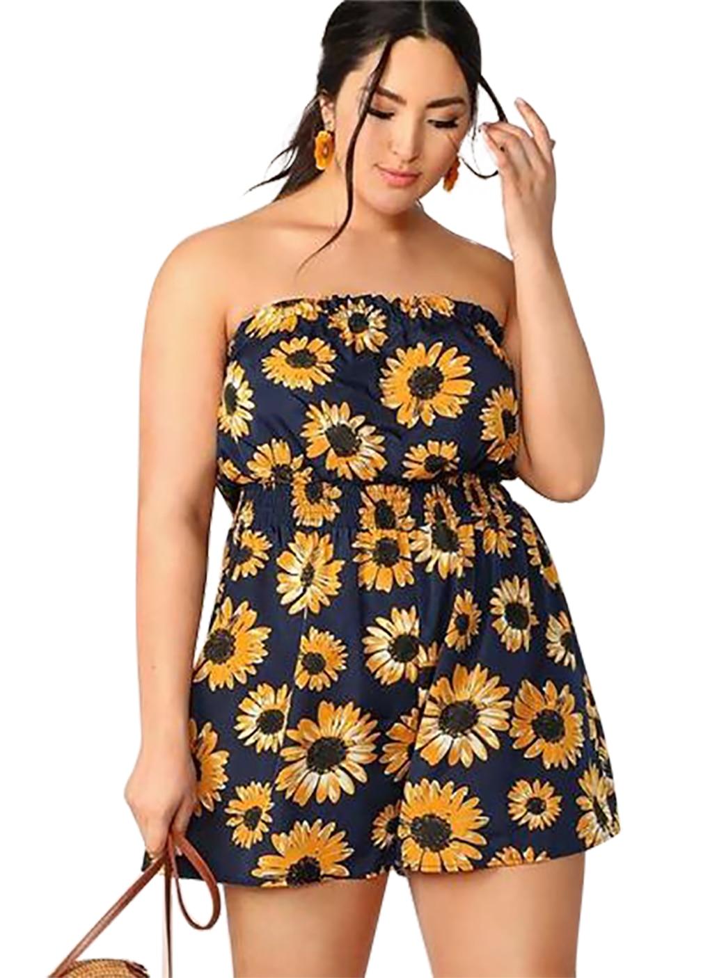 Women's Sunflower Graphic Romper Summer Jumpsuit Sexy Strapless Sleeveless Jumpsuit Ladies Rompers Beach Bodysuit Ladies Clothes