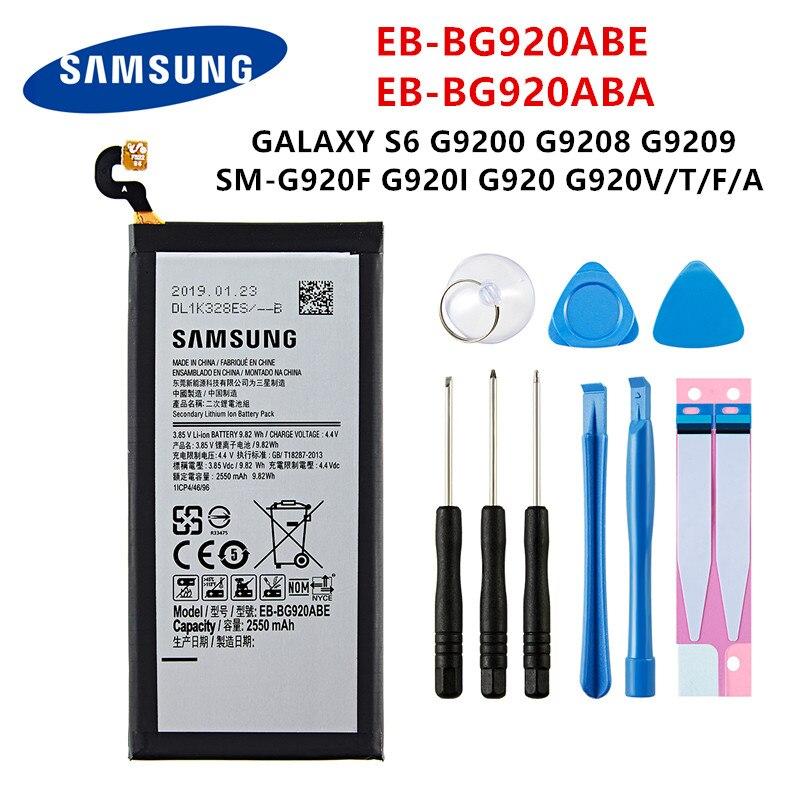 SAMSUNG Orginal EB-BG920ABE EB-BG920ABA 2550mAh Battery For SAMSUNG Galaxy S6 G9200 G9208 G9209 G920F G920 G920V/T/F/A/I +Tools