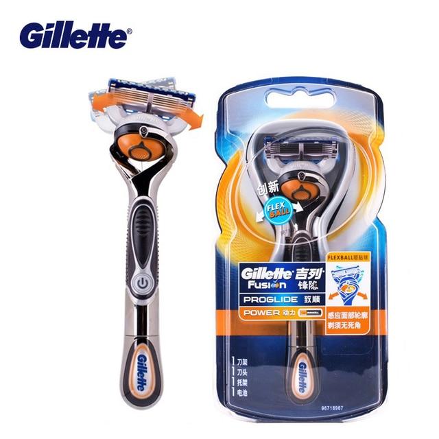 Gillette ProGlide Potenza Rasoio da Uomo Nero Maniglia + 1 Lama di Ricarica Fusion5 Con FlexBall Tecnologia Con 5 Anti attrito Lame