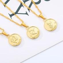 Круглое ожерелье в виде монеты со знаком зодиака для женщин